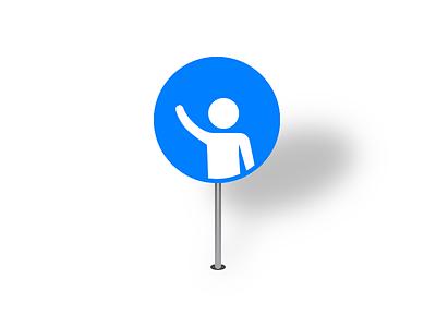 Pickup Pin pin map icon blue passenger man sketchapp person vector hail iconography hailing