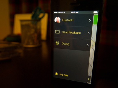 Driver 2 - Navigation sketchapp menu ios iphone ui black dark yellow map photo mobile hailo