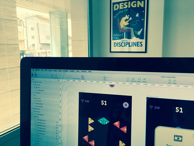 Working on a new puzzle game mac mobile work studio office sketch design game ui