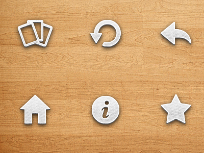 Toolbar icons icon game ui iphone wood glyph toolbar restart cards refresh undo home info star