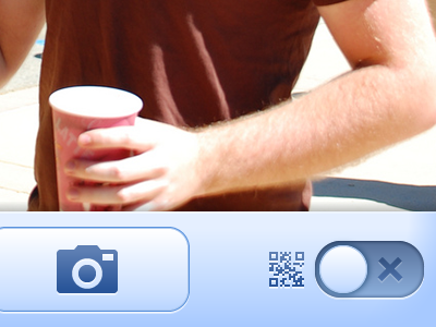 QR code switcher qr camera icon switch button blue meebo ui visual interface iphone mobile app