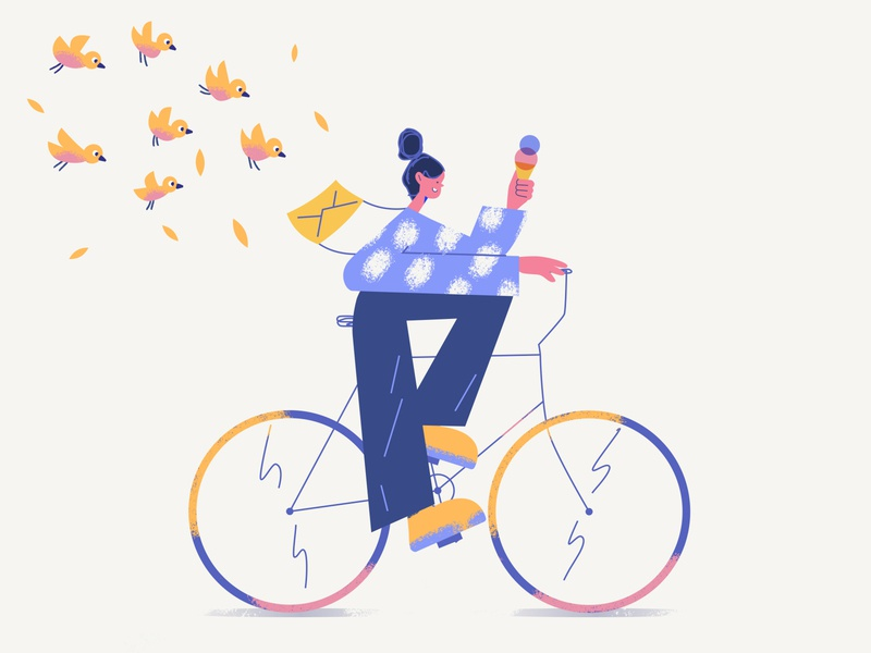 Biking blue drawing vector digital girl character illustrator bird summer bike illustration flat