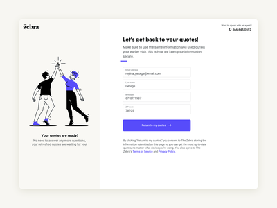 Returning to your Z-quotes! sign in form ux insurance tech spot illustration product design uiux ui