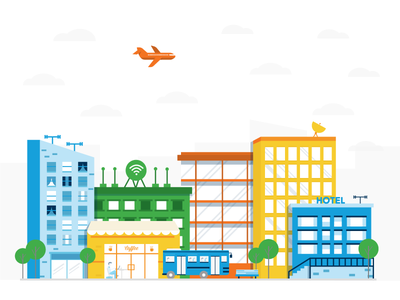 Little City town flat illustration buildings city scape city