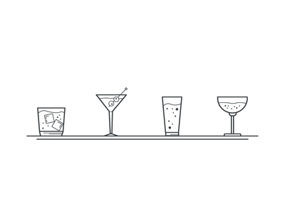 Simple drink icons old fashion martini bar drink icons