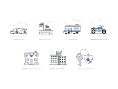 Insurance icons renters condo home moto rv boat car iconography icons insurance