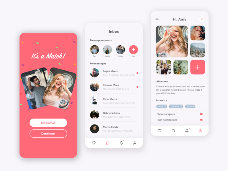 Dating app concept dating profile chat ui ui design ui  ux modern minimalistic app dating app