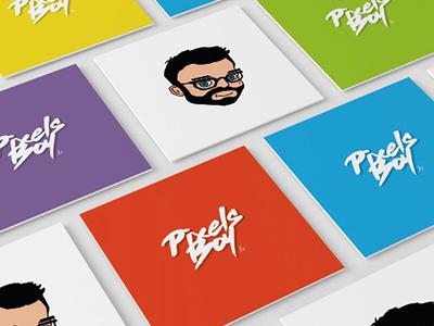 Pixels Boy Busniess Card logo businesscard