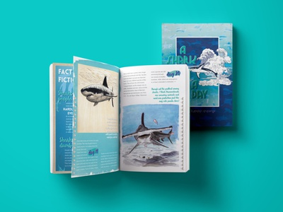 Self-published illustrated book about sharks book illustrations ocean illustration ocean art illustrated book shark art ocean ocean life drawing challenge drawingart drawings sharks self-publishing book design book cover design book