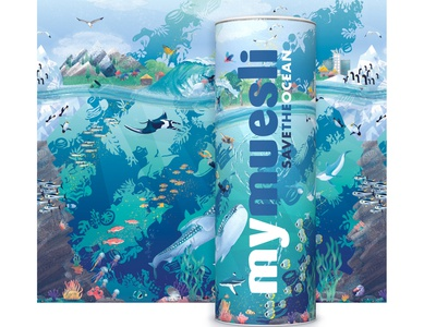 MyMuesli package design illustration packaging illustration plastic pollution food packaging save the ocean illustration art animals animal illustration surfing ocean life illustration vector illustration digital illustration product illustration package illustration packaging design package design packaging ocean illustration ocean art ocean