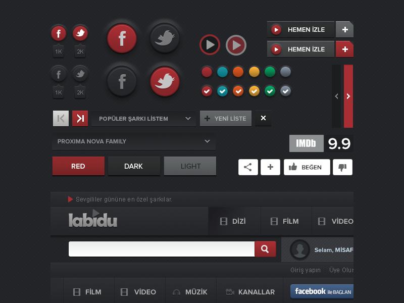 Video Script UI button interface awesome free download gui psd resources freebie navigation butterscotch kit menu slider web
