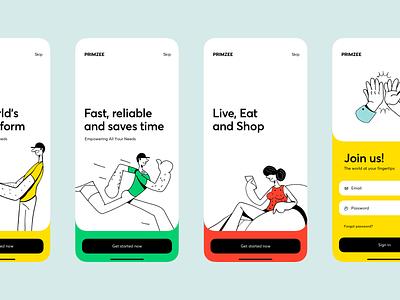 Primzee - Mobil Application shopping delivery logo interface branding iphone illustration app mobile design ux ui