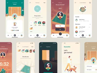Quarantick - Health App pill map navigation todo checklist corona health iphone illustration app mobile design ux ui