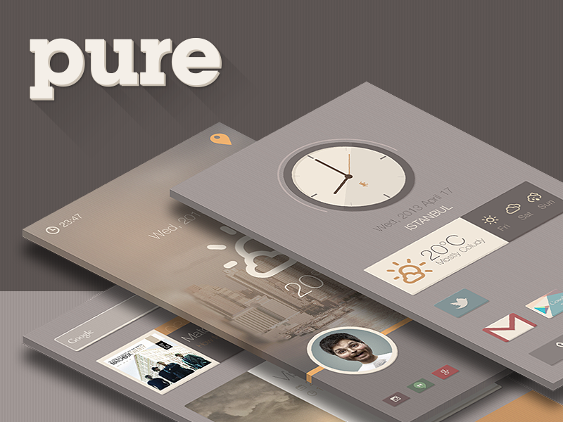 Pure Buzz Launcher Theme app weather flat design android launcher ui ux buzz launcher clock widget