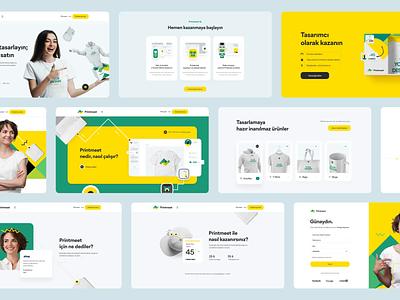 Printmeet mobile branding typography homepage landing illustration design web ux ui