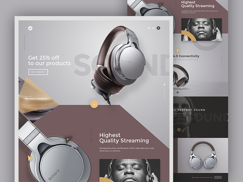 Headphones commerce sony web ui store shop music interface interaction headphones concept