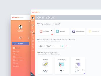 icerik.com Dashboard web ux ui customer task statistics minimal interface infographic flat dashboard admin