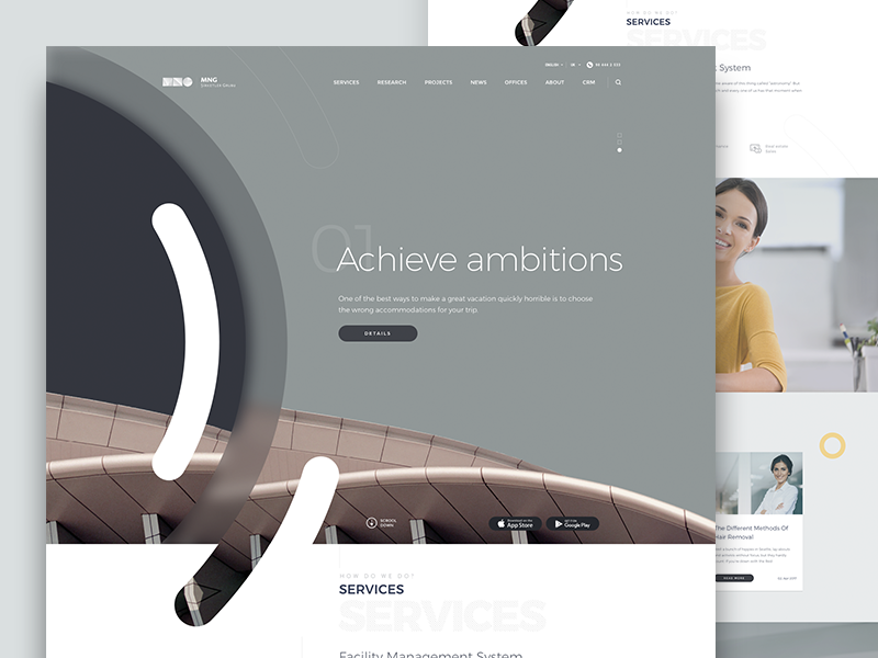 MNG web ux ui responsive page company mobile landing corporate homepage design