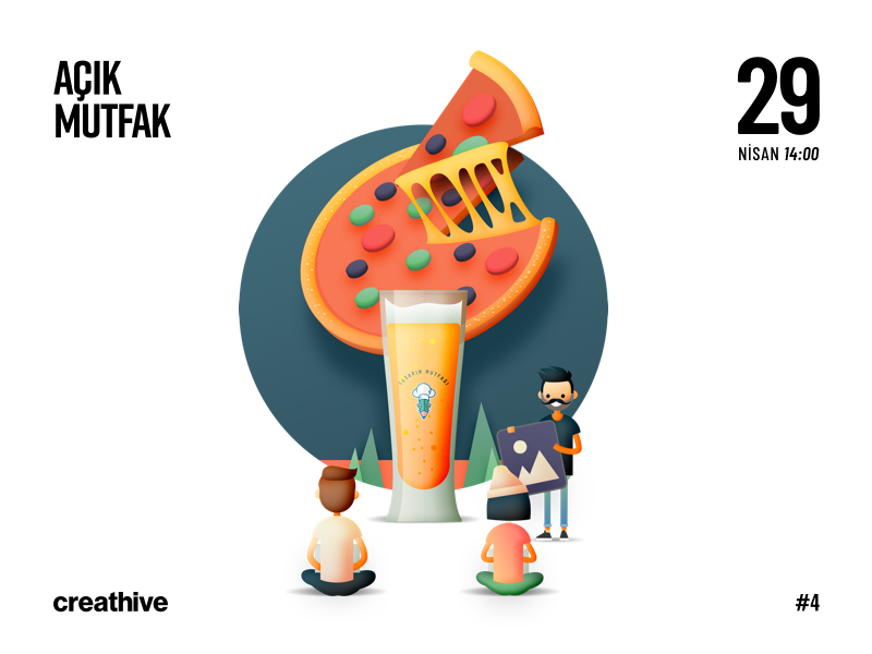 Açık Mutfak / Creathive illustration pizza beer creathive step dribbble ai ps mutfagi tasarım meetup designer