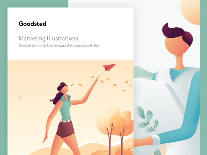 Goodsted Marketing Illustration 01 branding web vector illustration homepage landing design ux ui