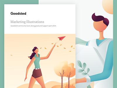Goodsted Marketing Illustration 01 branding web vector illustration homepage landing design ux ui