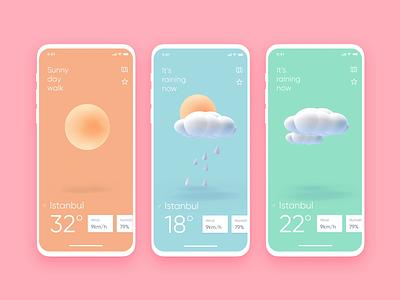 Weather App 3d icon weather animation 3d illustration cloud rain sun illustration iphone app design mobile ux ui