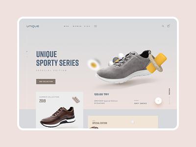Greyder Unique shoe branding shopping homepage landing app ux ui web