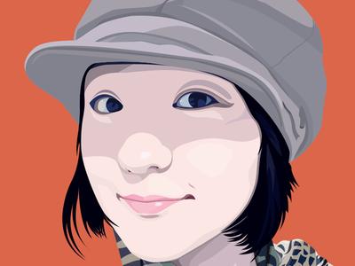 My Best Friend - Joyce illustartor red girl woman face smile friend