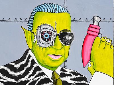 RoboCop illustrator scifi sci-fi cyborg pistol portrait painting comic hand drawn pen ink illustrators drawing comic art pen and ink illustration