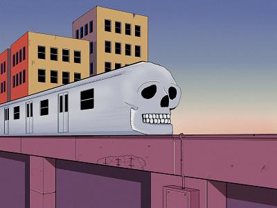 Death Train design airbrush pandemic new york comic art metro skull krita wacom intuos cityscape city illustrators illustrator comic illustration train
