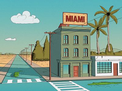 Miami digitalillustration krita artwork cartoon holiday house palms comic airbrush street miami aligator illustrators illustrations illustrator florida wacom intuos drawing comic art illustration