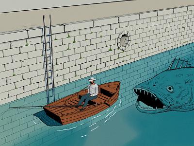 Fisherman illustration art pen airbrush ocean life ocean harbour drawing wacom tablet fisherman fishing boat illustrators comic art painting illustration