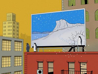 Penguins climate change billboard digital illustration houses city illustrators skyscraper animals animal cartoon penguin illustration art painting arctic penguins comic art drawing comic illustration
