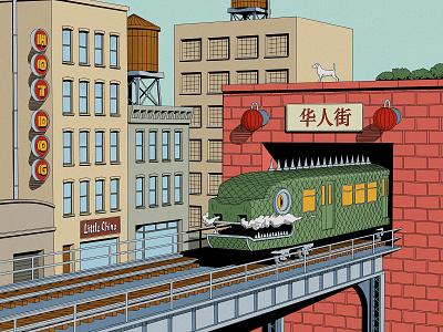 Chinatown tunnel bridge hand drawn illustration art city illustrators krita pen cartoon drawing chinatown new york metro train illustrator airbrush painting comic comic art illustration
