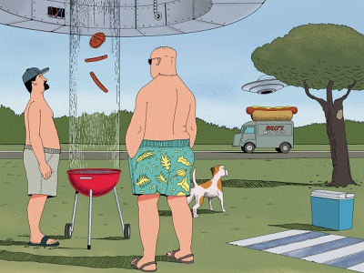 Mars Attack barbecue characters cartoon sausage scifi hand drawn hotdog dog park grill drawing mars illustrators ufos comic comic art painting illustration