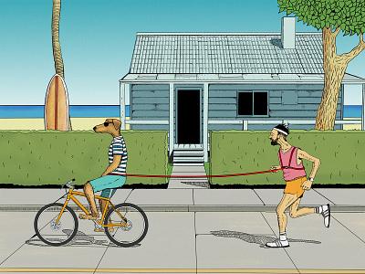 Walk the dog sportsman outdoor house jogging fun art fine art running painting character figure digitalpainting comic art dog drawing cartoon illustrators comic editorial illustration
