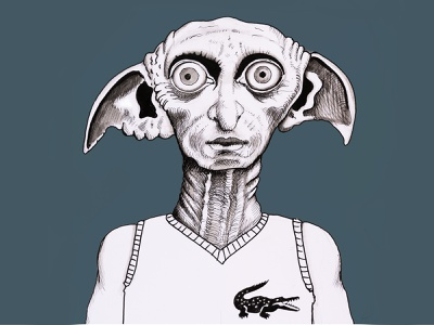 Dobby harrypotter dobby hand drawn drawing paintings pen pen and ink illustration