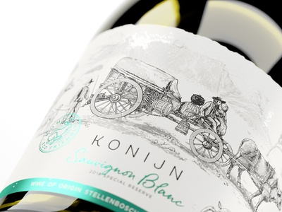 Konijn western cape dutch cape label graphic design illustration etching art branding wine label