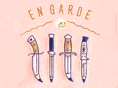 En Garde knives print art graphic design typoraphy skull knife type lettering pen hand drawn illustration