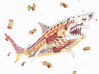 $hark design print digital painting illustration great white shark money shark money shark