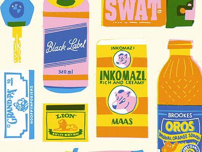 Survival Kit hand drawn lettering illustration. type print digital painting vintage art pop survive south africa survivor