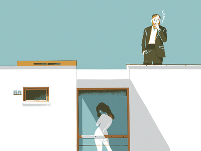 Lovers illustration texture hand drawn art digital painting woman man vintage minimal roof house architecture