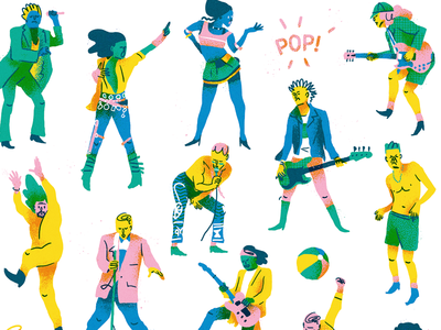 POP! musicians rock music vintage design graphic painting digital character illustration pop art