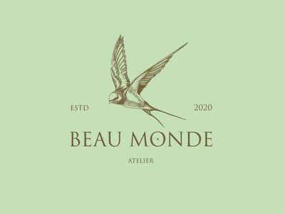 Beau Monde Atelier elegant hand drawing graphic design logo