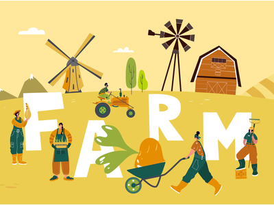 Fun on a farm with tiny  farmers cart truck woman girl landscape vegetables agricultural farmers farming tiny people