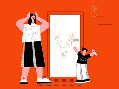 Drawing on the wall illustrator flat woman mother son boy skoda family parenting disturb angry sad difficult problems education drawing child naughty parent frustrated