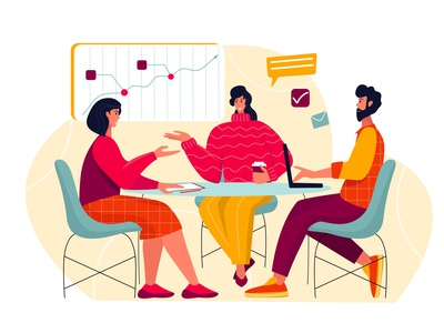 Office meeting conversation employment career discussion graphic cgart girl managment brainstorm illustration flat people man cartoon office woman