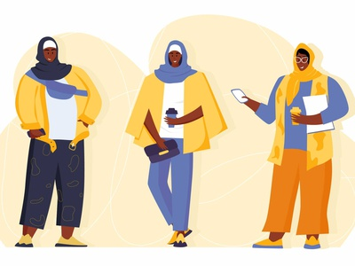 Modern young Muslim women wearing trendy clothes and hijab. arabic person cartoon character east fashion modern style outfit islam hijab muslim american african woman diversity people illustration girl flat woman