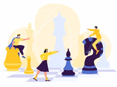 Chess game king idea movement tactical tactics man woman cartoon people illustration character game mind gambit queen chessboard chess flat