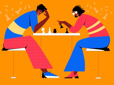 Chess game tactical competition teamwork chess game chessboard chess man web design character cartoon people illustration woman flat